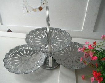 party tray serving tray cupcake stand trio tray metal tray foldable tray ornate stand vintage tray wedding decor cottage chic cottage decor