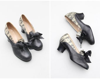 new old stock 1920s snakeskin oxford heels - 20s black bow shoes / Friedman - Shelby / vintage Deco flapper heels - small size . 5