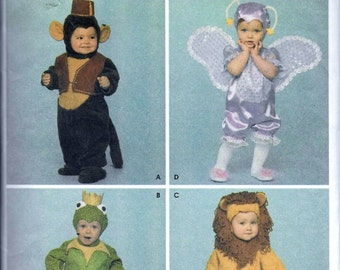 Simplicity Kids Costumes 3994 Monkey Frog Lion Butterfly Pattern Toddler 1/2, 1, 2, 3, 4