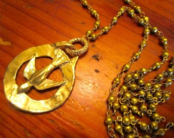 Uniquely Special DOVE PEACE Sign Pendant in Gold/Bronze on Long, Vintage Wire-Wrapped, Gold Bronze Chain Necklace - Magnificent & OOAK
