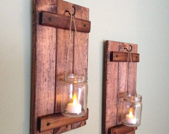 Rustic Wall Decor, Wooden Candle Holder, Rustic Mason Jar Decor, Wall sconce, Wooden Rustic Decor, Rustic Wall Decor, Mason Jar,Set of 2