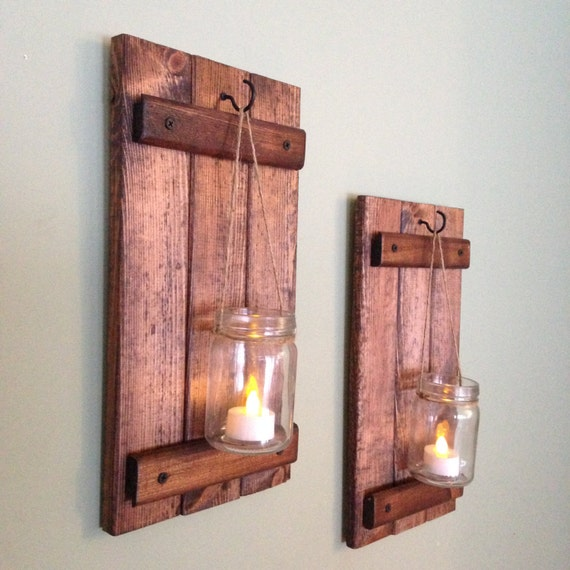 Rustic Wall Sconces For Candles : Rustic Wall Decor Wooden Candle Holder Rustic Mason Jar