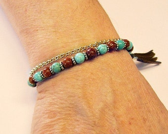 Chain Sandstone Turquoise Adjustable Bracelet With Tassel Charm