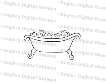 Bathtub With Bubbles Digital Stamp Image