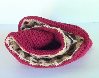 Clearance Sale - Cowl, Reversible Cowl, Crocheted Reversible Cowl, 2 Cowls in 1
