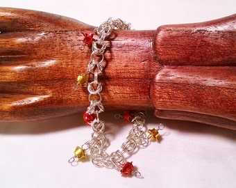 Red and Gold Roses Aluminum Byzantine-style Chainmail Bracelet