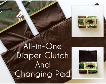 READY TO SHIP All-in-One Diaper Clutch and Changing Pad, Dino Print/Brown diaper clutch and changing pad