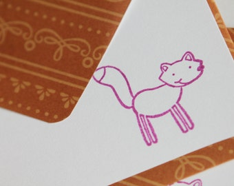 Set of 3 Stationery - Purple and Burnt Orange Brown - Feelin Foxy