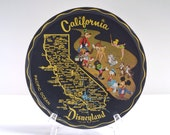 Vintage Disneyland tin litho serving tray, map of California, black metal drink tray, 1950s 1960s midcentury kitchen and bar, Mickey Mouse