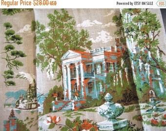 25%SALE Parisian plantation. Striking vtg Parisian Prints linen towel, excellent unused condition, with original tag.