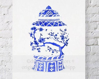 Chinois Ginger Jar in Ming Blue Print 11x14 - Chinoiserie Wall Art - Blue and White Art Print - Vintage Ginger Jar Wall Art