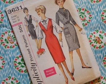 Vintage 1950s 1960s Sewing Pattern / Smart Jumper Day Dress with Slim Wiggle Skirt / Simplicity 3631 / 35 Bust / UNCUT