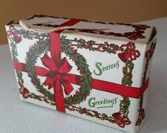 Vintage ca 1940 Paper Ephemera Christmas Box