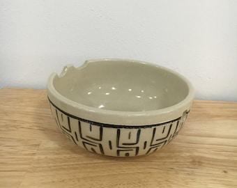 Handmade Black and Cream Geometric Rice Bowl