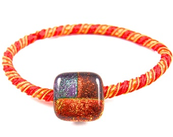 """Dichroic Ponytail Holder Rubber Band - Orange Yellow with Patchwork Patterned Pumpkin & Purple Dichro Fused Glass - 1/2"""" 12mm - Rubberband"""
