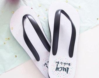 Confetti Wedding Flip Flops Personalised