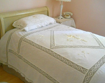 Vintage Hand Crochet Lace/Silk Embroided Twin Bed Coverlet  c. 1930 ~     Offers Welcomed