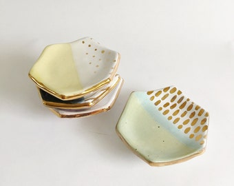 Hexagonal Ring Dish (gold luster accents)