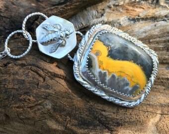 Honey Bee Sterling Silver Pendant, bumblebee jasper pendant, honeycomb sterling pendant, beehive necklace