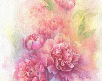 Peonies - ORIGINAL watercolor painting 11x15 inches