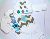 Boys Personalized Newborn Elephant Bodysuit Infant Gown and Beanie Hat SET 2 PIECE Coming Home Outfit Baby Shower Gift Aqua and Gray Chevron