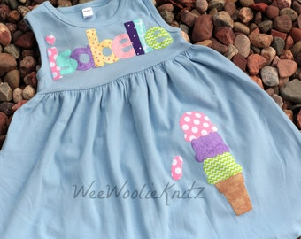 Ice Cream Dress, Personalized Summer Dress, Toddler, 1st 2nd 3rd Birthday, Birthday Dress, Beach Cover Up