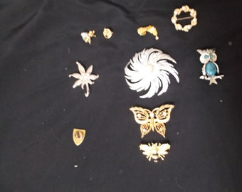 Lot of 10 Brooches, Pins, Owl, Bee, Angels, Butterfly