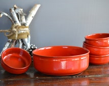 Vintage Ceramano Sunset Orange Serving Bowl with Four Dessert