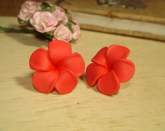 Sweet Orange Plumeria Frangipani Post/Stud Earrings (E83)