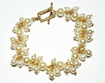Ivory Pearl Cluster Bracelet, Gold & Ivory Clustered Pearls, Clustered Pearls Bracelet,Bridal Ivory Pearl Bracelet, Bridesmaid FREE SHIPPING