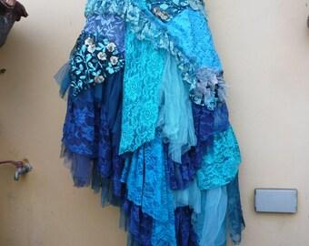 "20%OFF wedding bohemian boho gypsy lagenlook OAK shabby mermaid wrap skirt...38"" across plus ties."