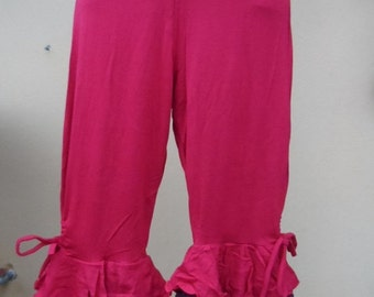 """20%OFF lagenlook chocolate brown 3/4 pants with ruffles and roses...small to firmer 36"""" hips or waist...."""