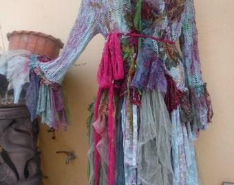 "20%OFF bohemian boho lagenlook jacket gypsy crochet top ....work of art!! medium to 42"" bust...."