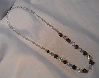 Vintage Estate Aurora Borealis 28 inches Long Crystal Beaded Strand Necklace Metal and Crystal Filigree Spacers FREE SHIPPING