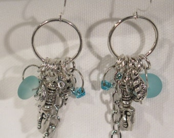 Earrings Dangle - Silvertone Charms with teal Sea Glass for Accent -  Fish Hook Wires