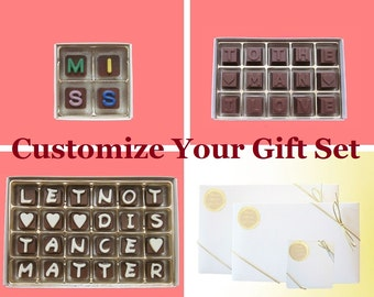 Customized Fee, Luxury Gift Box of Chocolate 4 pc Jelly Bean Cube, 15 pc Milk Chocolate Message, 24 pc Cubic Chocolate Letters, Men Him Her