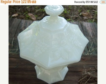 Vintage Milk Glass Covered Dish, Grapevine Motif Home Decor New Orleans Vintage Shop Holiday Retro