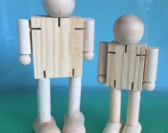 POSABLE WOODEN ROBOTS *** 1 x 17cms timber robot and 1 X 14cms timber robot ***Wooden Dolls***Steiner Toys***Wooden Bendy Doll