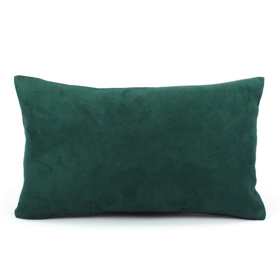 Hunter Green Pillow Cover 12x20 Lumbar Faux by ChloeandOliveDotCom