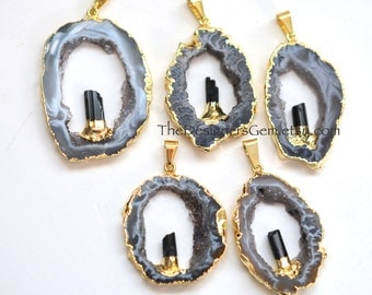 Black and White Geode Raw Druzy Pendant, Gold Dipped Geode with Black Tourmaline