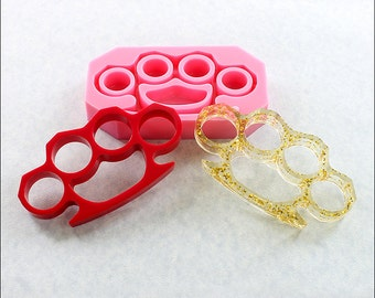 Brass Knuckles Mold Large Full Size Flexible Silicone Mould - Crafts, Jewelry, Resin, PMC,  Scrapbooking, Polymer Clay, Push Mold (505)