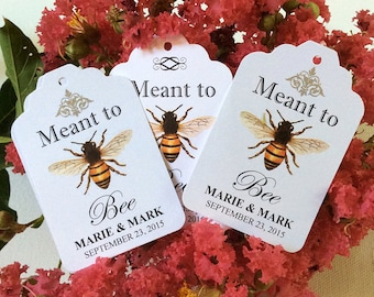 50 Meant to BEE WEDDING FAVOR Tags