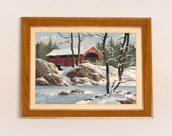 Covered Bridge in Winter Paint By Number