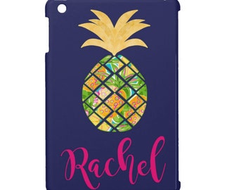 Personalized iPad Air Case - Custom iPad mini case, Monogrammed iPad Cover with Pineapple