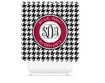 Monogram Shower Curtain, Custom Shower Curtain, Personalized Bathroom  Decor, Houndstooth Alabama Shower Curtain