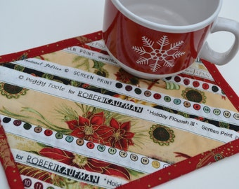 Christmas Coaster, Coworker Gift, Quilted Mug Rug, Cotton Placemat, Stocking Stuffer, Christmas Gift under 10