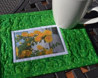 Yellow Rose Mug Rug, Quilted Cotton, Floral Photo Fabric Placemat, Mothers Day Gift, Gardener gift, Under 20
