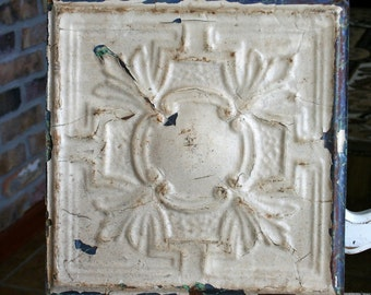 "11.5"" x 11.5"""" Antique Tin Ceiling Tile -- Chippy Cream Paint -- Pretty Design"
