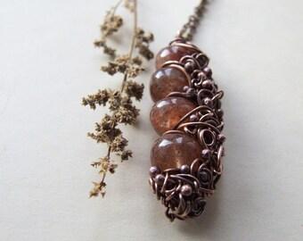 Earth Necklace, Autumn Quartz Copper Pendant, Gemstone Boho Necklace, Quartz Necklace
