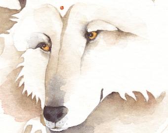 WOLF spirit watercolor ACEO - 'Shaman Moon' - giclee PRINT - Free Shipping